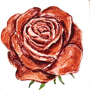 Flower Rose Glossy Ceramic Tiles 4x4
