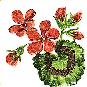 Flower Geranium Glossy Ceramic Tiles 4x4
