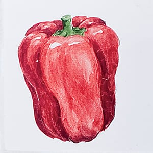 Vegetable Red Pepper Glossy Ceramic Tiles 4x4
