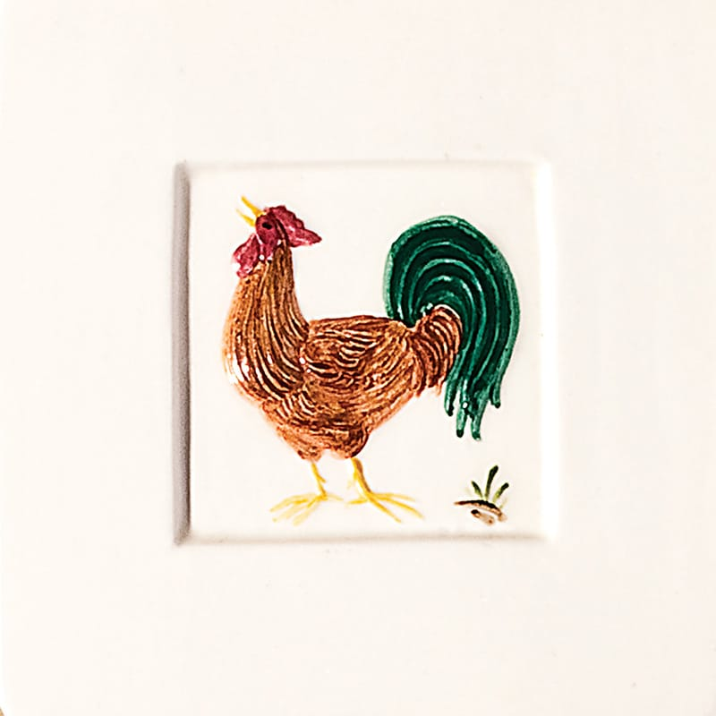Rooster Glazed Ceramic Tiles 4x4 - Country Floors of America LLC.