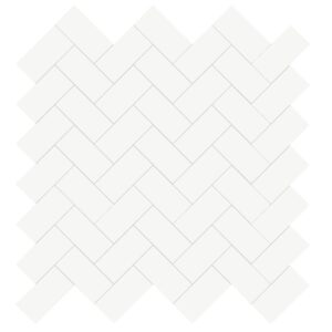 Marjinal White Polished Harringbone 1x2 Porcelain Mosaics 12x12