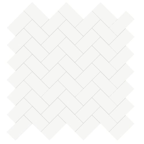 Marjinal White Polished Harringbone 1×2 Porcelain Mosaics 12×12