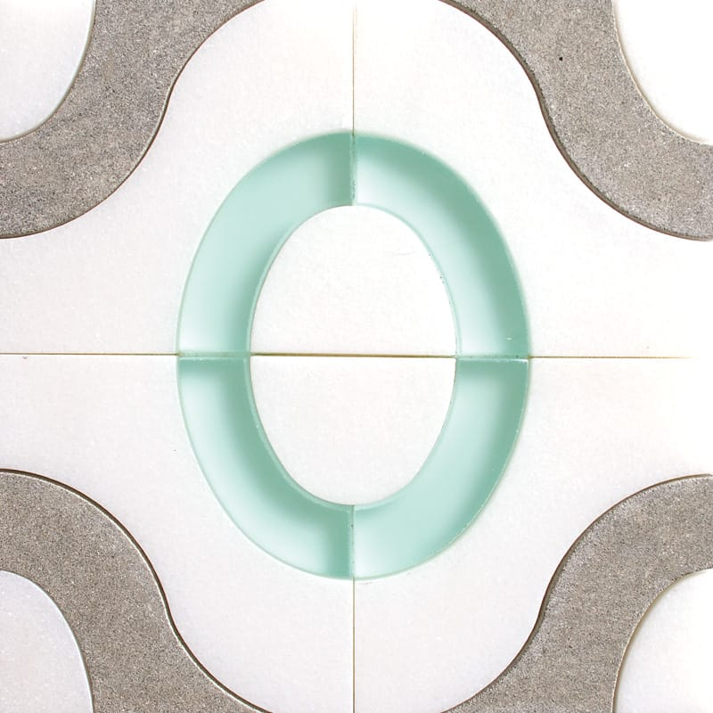 Calypsob-th,bb,aegean Honed Waterjet Marble Mosaics 15 X 15