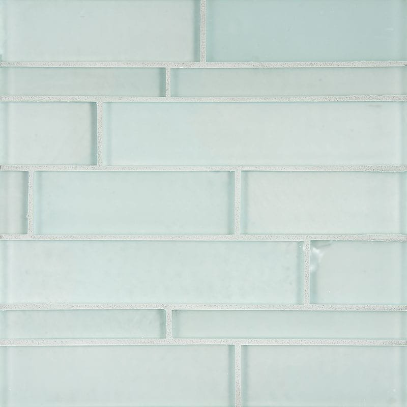 Planking Aegean Satin Waterjet Glass Tiles 9 1/2 X 3 3/4