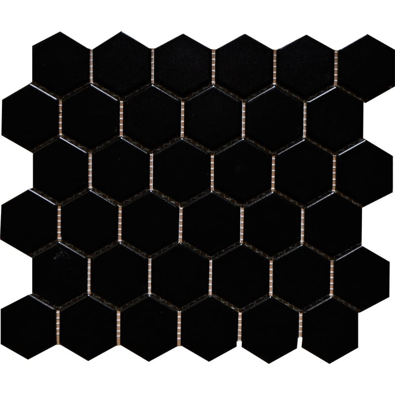 Mg Black Glazed 10 3/8x12 Hexagon Porcelain Mosaics