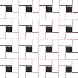 Mg White/black Glazed Pinwheel Porcelain Mosaics 12x12