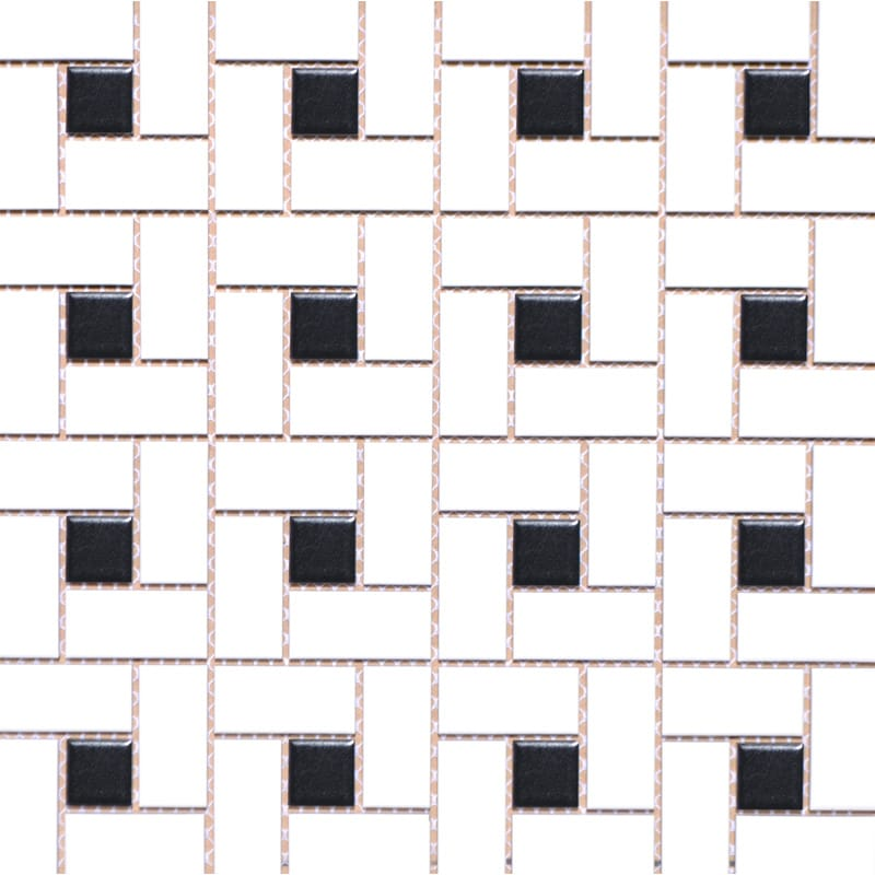 Mg White/black Glazed 12x12 Pinwheel Porcelain Mosaics