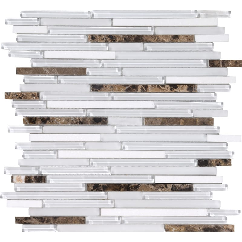 Noce De Coco Gloss Liner Blend Glass Mosaics 12x12
