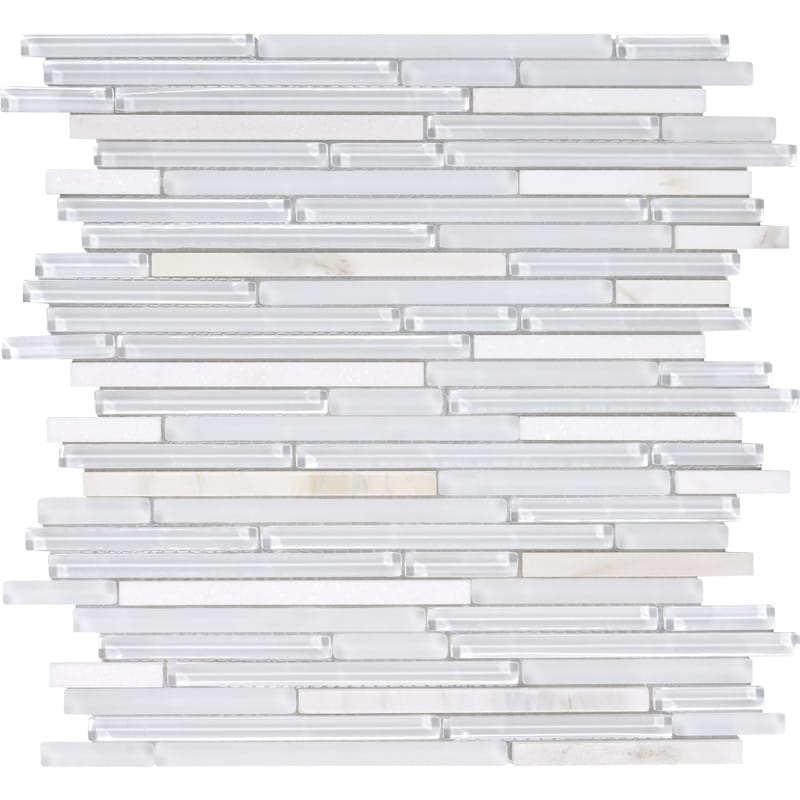 Bianco Granita Gloss Liner Blend Glass Mosaics 12x12