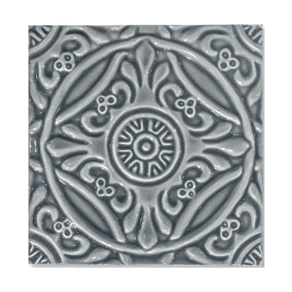 Peggy Blue Glossy Medallion Ceramic Wall Decos 6x6