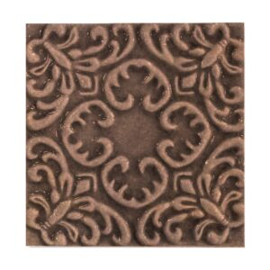 Chicory Glossy Baroque Ceramic Wall Decos 6x6