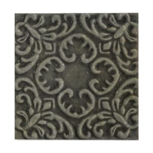 Peat Glossy Baroque Ceramic Wall Decos 6x6