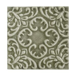 Shitake Glossy Baroque Ceramic Wall Decos 6x6