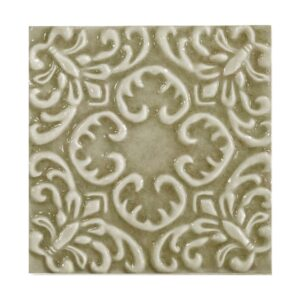Willow Glossy Baroque Ceramic Wall Decos 6x6