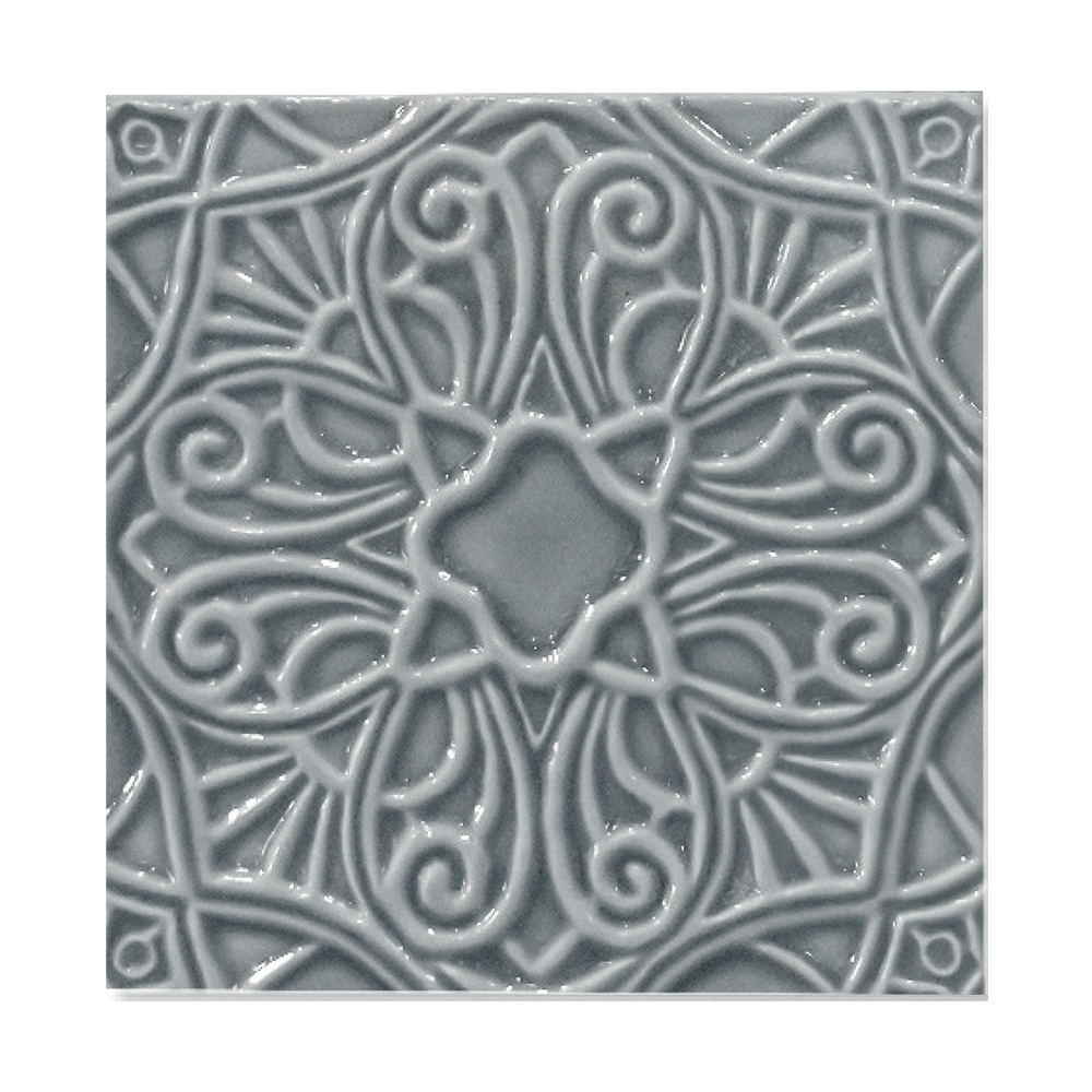 Peggy Blue Glossy Filigree Ceramic Wall Decos 6x6