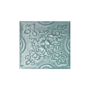 Turquoise Glazed Laurier Ceramic Wall Decos 2x2
