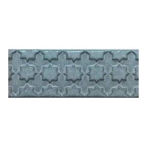 Blue Smoke Glazed Treillis Ceramic Moldings 2x6
