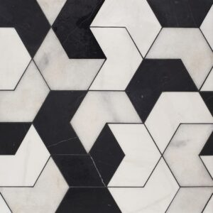 Black, Snow White, Glacier Multi Finish Ravel Marble Waterjet Decos 3 17/32x6 1/8
