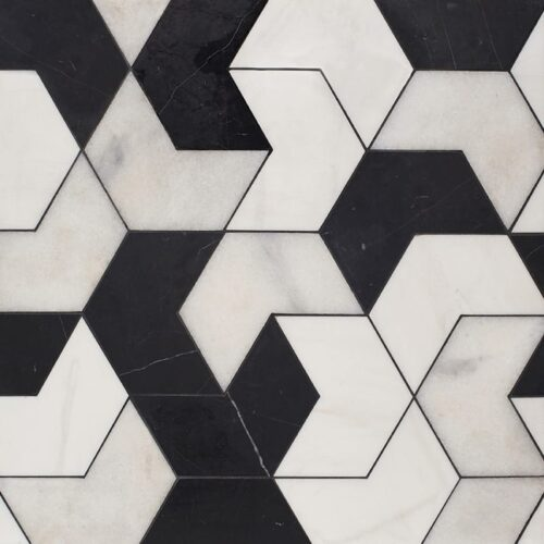 Black, Snow White, Glacier Multi Finish Ravel Marble Waterjet Decos 3 17/32×6 1/8