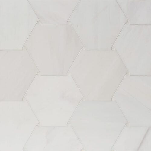 Snow White Polished Oragami Marble Waterjet Decos 5 29/32×7 1/16