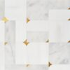 Glacier, Snow White, Brass Multi Finish Blocks Marble Waterjet Decos 16 5/8×16 5/8