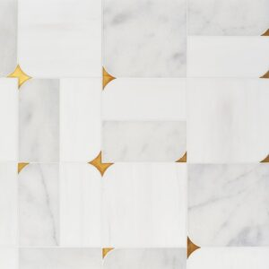 Glacier, Snow White, Brass Multi Finish Blocks Marble Waterjet Decos 16 5/8x16 5/8