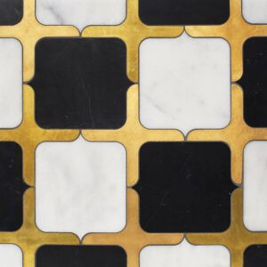 Black, Glacier, Brass Honed Emerson Marble Waterjet Decos 13 23/32x13 23/32