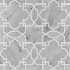 White Carrara, Thassos White Multi Finish Tamara Marble Waterjet Decos 9 23/32x9 23/32