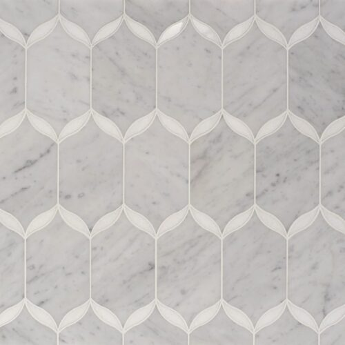 White Carrara, Thassos White Multi Finish Caridad Marble Waterjet Decos 9 23/32×13 1/4