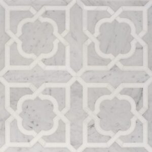 White Carrara, Thassos White Multi Finish Lana Marble Waterjet Decos 8 31/32x17 31/32
