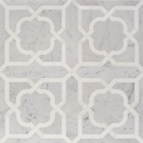 White Carrara, Thassos White Multi Finish Lana Marble Waterjet Decos 8 31/32×17 31/32