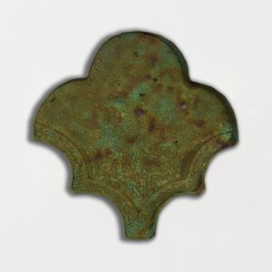 Tefusee Green Glazed Fan Shape Terracotta Tiles 3 1/2x4 1/2