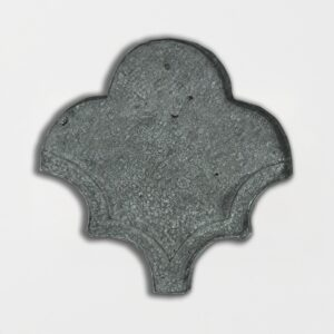 Wintour Grey Glazed Fan Shape Terracotta Tiles 3 1/2x4 1/2