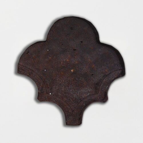 Losada Brown Glazed Fan Shape Terracotta Tiles 3 1/2×4 1/2