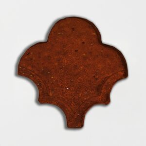 Woody Brown Glazed Fan Shape Terracotta Tiles 3 1/2x4 1/2