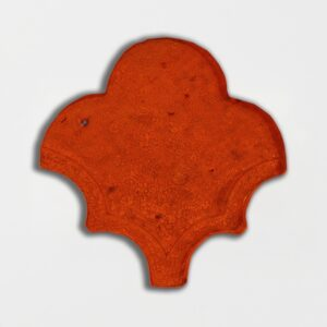 Avante Garde Orange Glazed Fan Shape Terracotta Tiles 3 1/2x4 1/2