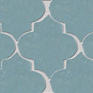 Temperance Blue Glazed Arabesque Terracotta Tiles 9x10