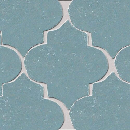 Temperance Blue Glazed Arabesque Terracotta Tiles 9×10