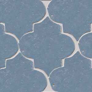 Peggy Blue Glazed Arabesque Terracotta Tiles 9x10
