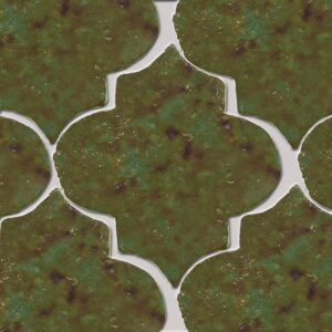 Tefusee Green Glazed Arabesque Terracotta Tiles 9x10