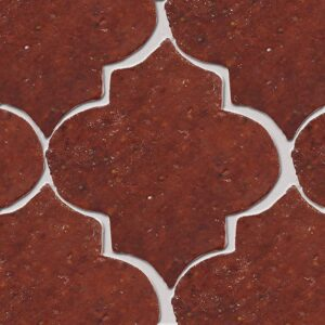 Woody Brown Glazed Arabesque Terracotta Tiles 9x10
