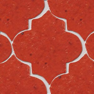 Avante Garde Orange Glazed Arabesque Terracotta Tiles 9x10