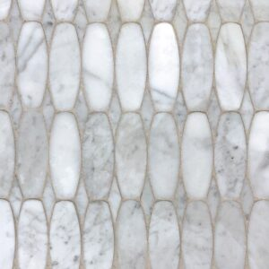 White Carrara Polished Oval Scale Marble Waterjet Decos 11x12