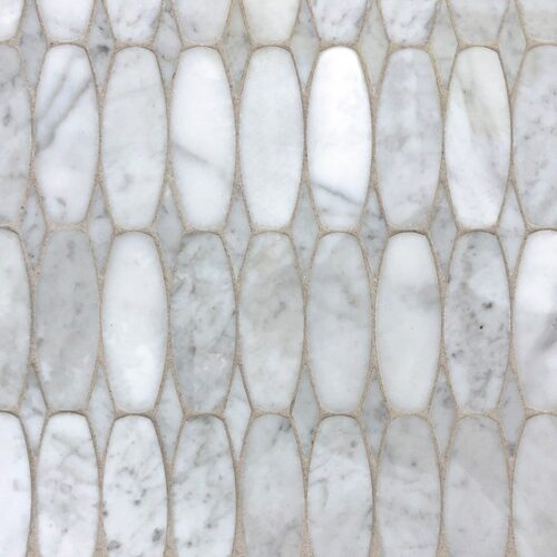 White Carrara Polished Oval Scale Marble Waterjet Decos 11×12