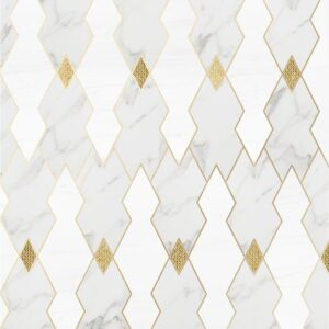 Calacatta Gold, Snow White, Gold Ottoman Multi Finish Marble Waterjet Decos 8 8/32x10 1/16