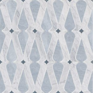 Allure Light, Avenza, Indigo Ottoman Tex Multi Finish Marble Waterjet Decos 8 1/4x12 11/32