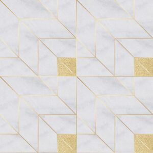 Gold Ottoman Textile 2, Glacier Multi Finish Marble Waterjet Decos 9x9