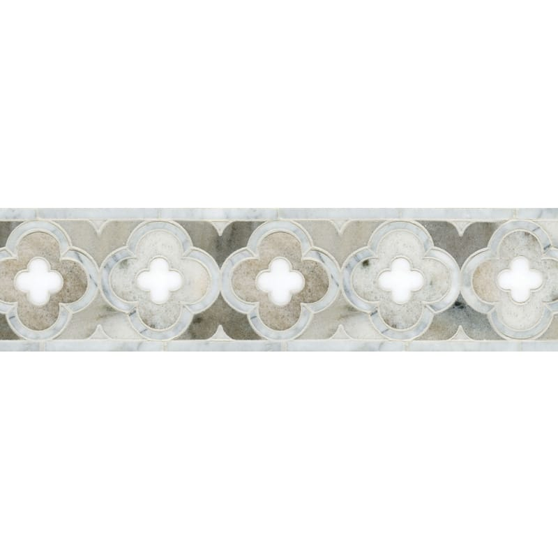 Avenza Light, Dolomite, Palisandra Multi Finish Damascus Marble Borders 4 5/8x11 11/16