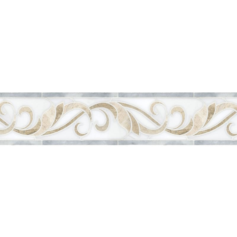 Avenza Light, Diana Royal, Dolomite Multi Finish Artemis Marble Borders 4x11 11/16
