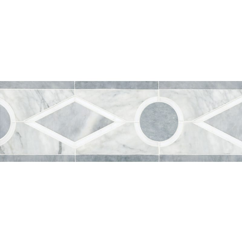 Afyon Grey, Avenza Dark, Dolomite Multi Finish Octavian Marble Borders 6x12 1/16